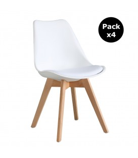 PACK X4 SCANDINAVIAN WHITE CHAIR WITH WOOD LEGS